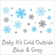 Baby It's Cold Outside Blue & Grey Baby Shower Invitations