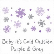 Baby It's Cold Outside Purple & Grey Baby Shower Invitations