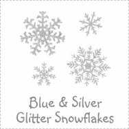 Glitter Snowflakes Blue and Silver Baby Shower Invitations