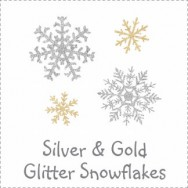 Glitter Snowflakes Silver and Gold Baby Shower Invitations