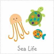sea life bubbles and squirt nautical octopus turtle jellyfish seahorse crab theme